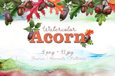 Autumn acorn leaf and plant PNG watercolor set