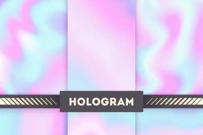 Rainbow colored hologram vector background set
