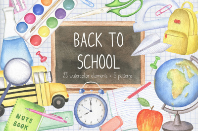 Back to School Watercolor Set, School Supplies Clipart