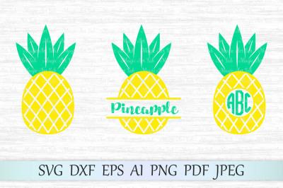 Pineapple svg, Pineapple monogram, Pineapple cut file