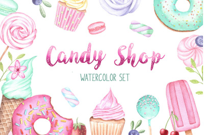 Sweet Watercolor Set, Cupcake Clipart, Donut Clipart, Sweet Patterns