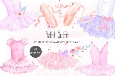 Watercolor Ballet Shoes Ballet Dresses Illustration
