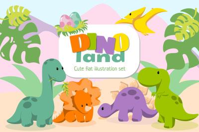 DINOland Cute Flat illustrations set