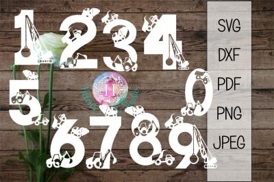 Construction number set SVG DXF PNG PDF JPEG cutting file