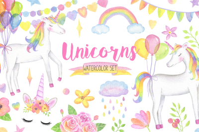Magical Unicorn Watercolor Set, Unicorn Face Clipart, Rainbow Clipart