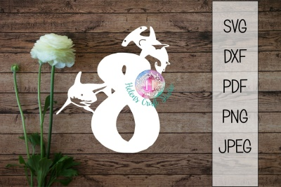 Shark number eight SVG DXF PNG PDF JPEG cutting file