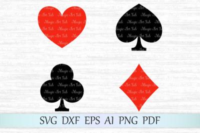 Playing cards SVG, Card suits SVG, Playing card suits cut file