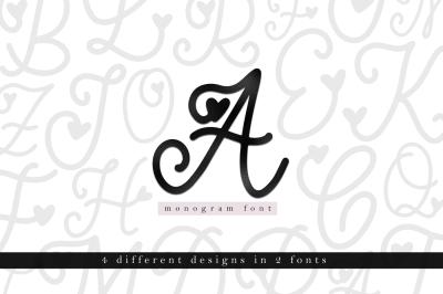 Handwritten Monogram Font - Four Styles