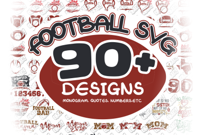 Football SVG Monogram Bundle in SVG/DXF/PNG/JPG/EPS