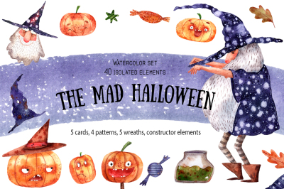 The Mad Halloween - Watercolor Clip Art Set