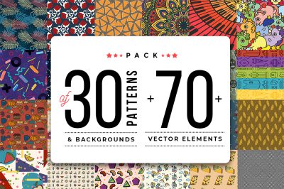 Pack Of 30+ Patterns & Backgrounds + 70+ elements