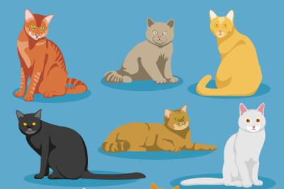 Cute cartoon kitties or cats vector set