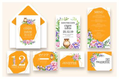 Flowers and Bird - Wedding Invitation  As.8