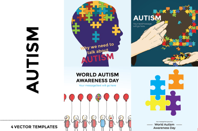 Autism- 4 Vector templates with HQ Images with/without Bg & Text