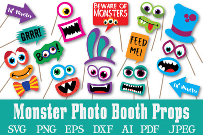 Monster Photo Booth Props and - Clipart - SVG Cut File - PNG - DXF