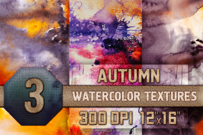 3 Autumn Halloween Digital Papers Watercolor Fall Scrapbooking