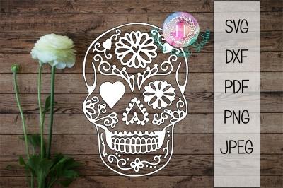 Sugar Skull Halloween Cutting file SVG DXF PDF PNG JPEG