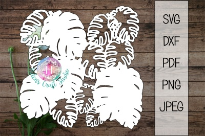 Tropical Leaves background SVG DXF PNG PDF and JPEG cutting file