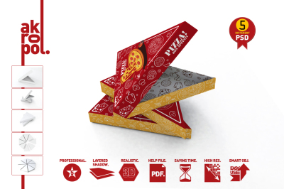 Pizza Slice Box Packaging Mockup