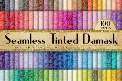 100 Seamless Tinted Damask Digital Papers 12 inch