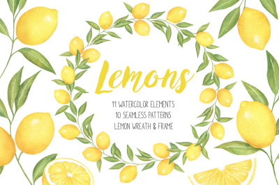 Lemon and Citrus Watercolor Clipart, Lemon wreath, seamless pattern