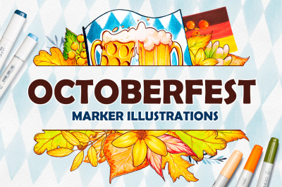 Octoberfest. Marker illustrations.