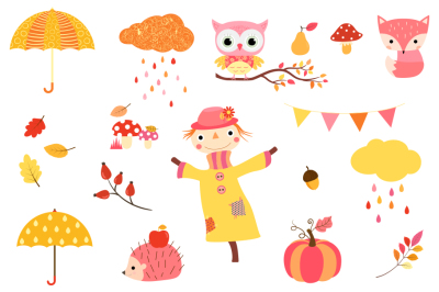 Cute fall clipart set, Kawaii autumn clip art, scarecrow, pumpkin