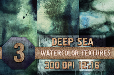Deep Sea Watercolor Textures, Background, Digital Papers High Quality