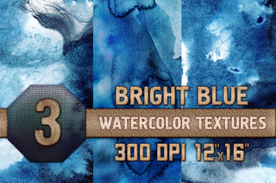Watercolor Texture Digital Papers Bright Blue Scrapbooking paper