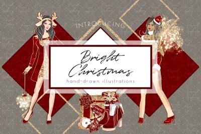 Christmas Clipart, Holiday Clipart, Planner Girl Scrapbook, Glitter