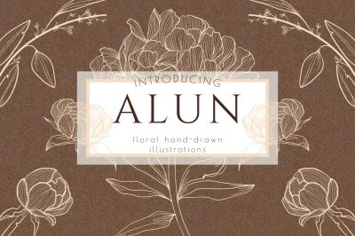 Flower Clipart, Hand Drawn Wreath Leaves Illustration, Branding