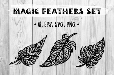 Magic feathers set.