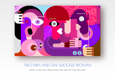 Two men and one shocked woman vector illustration