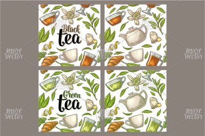 Seamless pattern  Lettering Black Green Tea. Engraving