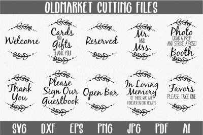 Wedding Reception Signs SVG Cut Files-DXF-AI-SVG-JPG-PNG-PDF