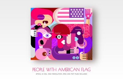 Group of people with American flag vector artwork