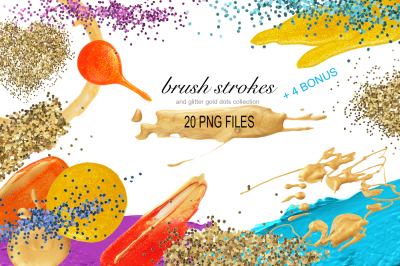 PNG Brush Stokes, Gold Glitter. 24 PNG files on transparent background