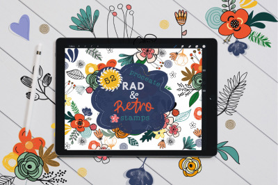 Rad and Retro Floral Stamp Brushes for Procreate