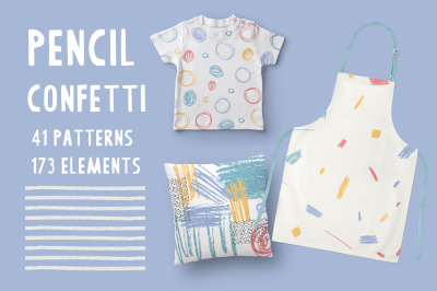 Pensil Confetti Patterns & Elements