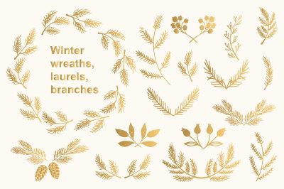 Winter wreaths, laurels, branches