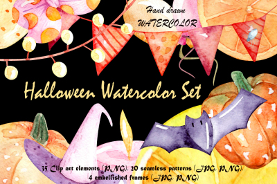 Halloween watercolor set, Clip art, frames, seamless patterns