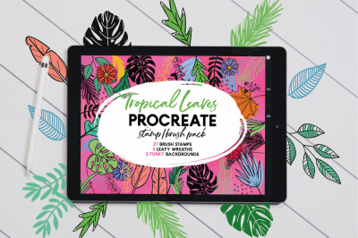 Tropical Leaves Stamp Brushes for Procreate
