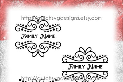 3 Swirly split border cutting files, monogram svg, split monogram svg