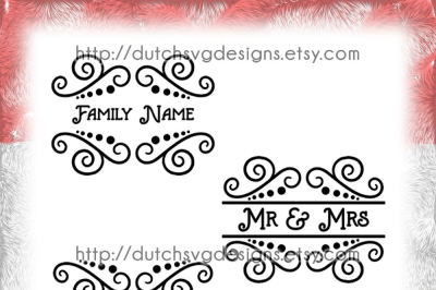 3 Swirly split border cutting files, split monogram svg, cut file