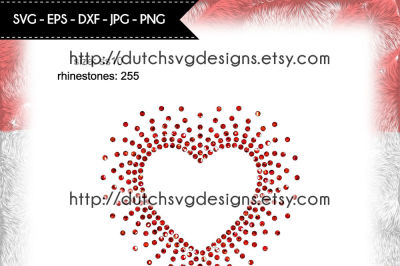 Hotfix rhinestone heart pattern (SS10), also for use as a cutting file