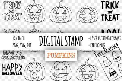 Pumpkins Halloween digital stamp. Laser cutting templates