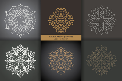 Set of round Arabic patterns