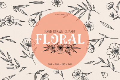 Floral svg clipart illustration flourish wreath