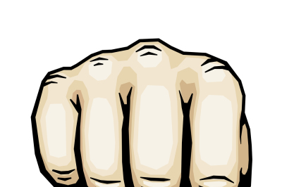 Color punching hand with clenched fist vector illustration