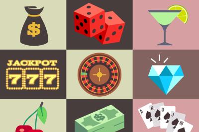 Flat gambling, casino, money, win, jackpot, luck vector icons